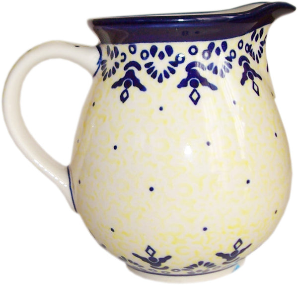"Boleslawiec Polish Pottery UNIKAT Small Pitcher ""Lace"""