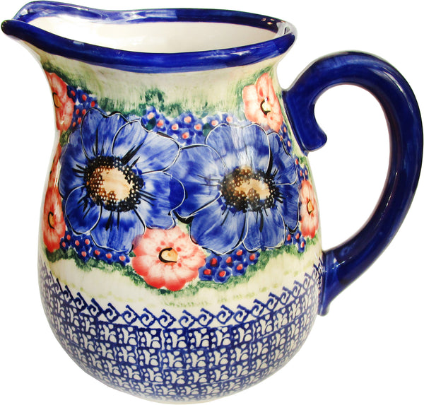 "Boleslawiec Polish Pottery UNIKAT 2L Pitcher Water or Milk Jug""Isabelle"""