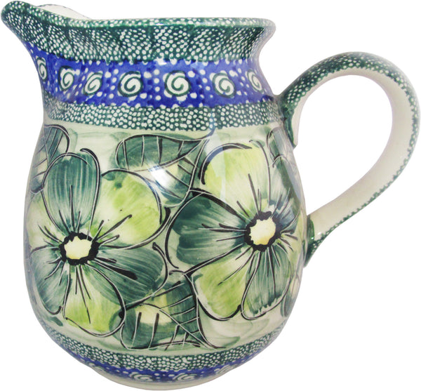 "Boleslawiec Polish Pottery UNIKAT 1L Pitcher Water or Milk Jug ""Green Garden"""