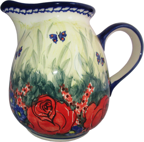"Boleslawiec Polish Pottery UNIKAT 1L Pitcher Water or Milk Jug ""Wild Roses"""