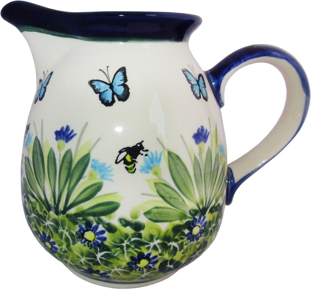 "Boleslawiec Polish Pottery UNIKAT 2L Pitcher Water or Milk Jug ""Serenity"""