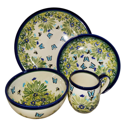 Boleslawiec Polish Pottery UNIKAT 4 Pcs Place Setting