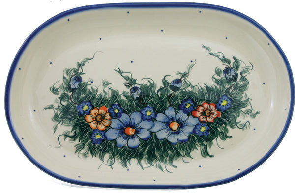"Boleslawiec Polish Pottery UNIKAT 11"" long Serving Platter ""Wild Field"""