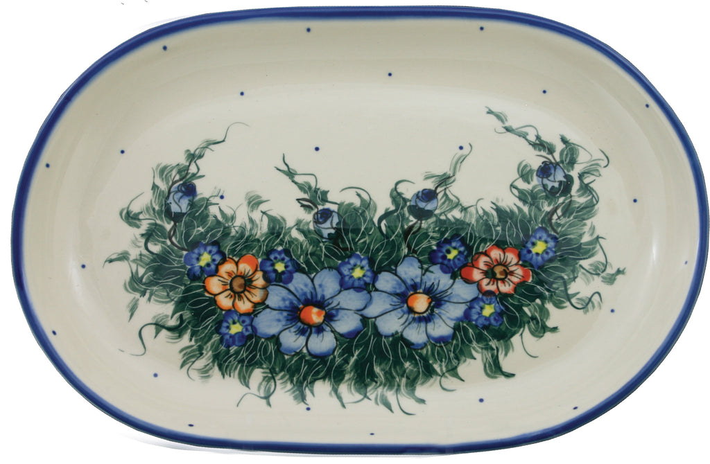 "Boleslawiec Polish Pottery UNIKAT Serving Platter 9.25"" long ""Wild Field"""