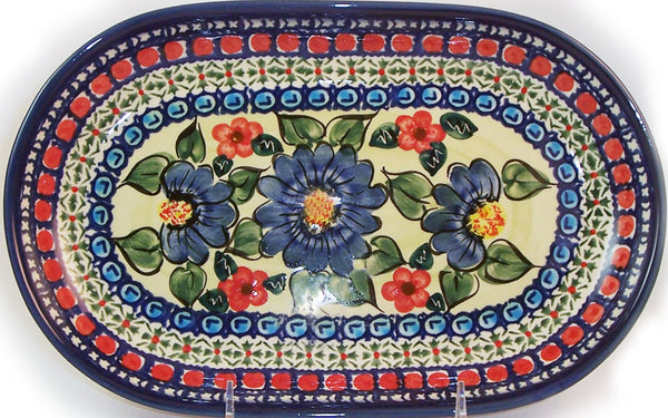 "Boleslawiec Polish Pottery UNIKAT Serving Platter 9.25"" long ""Patricia"""