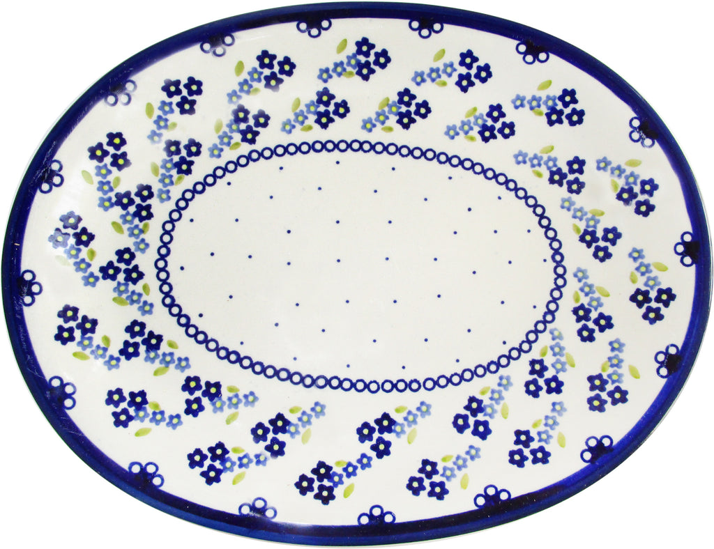 "Boleslawiec Polish Pottery UNIKAT Serving Platter ""Forget Me Not"""