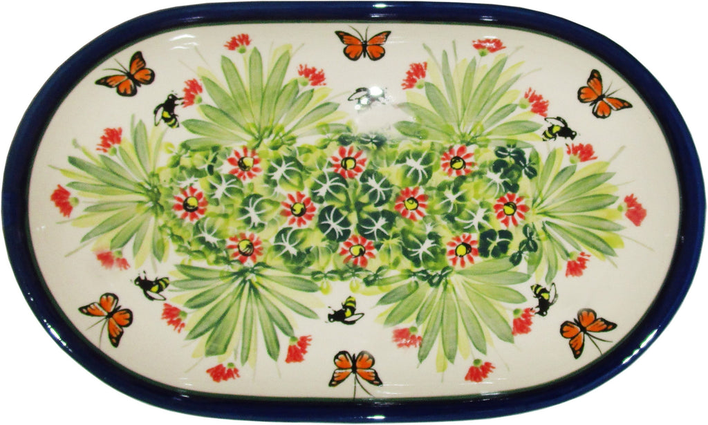 "Boleslawiec Polish Pottery UNIKAT 11"" long Serving Platter ""Spring"""
