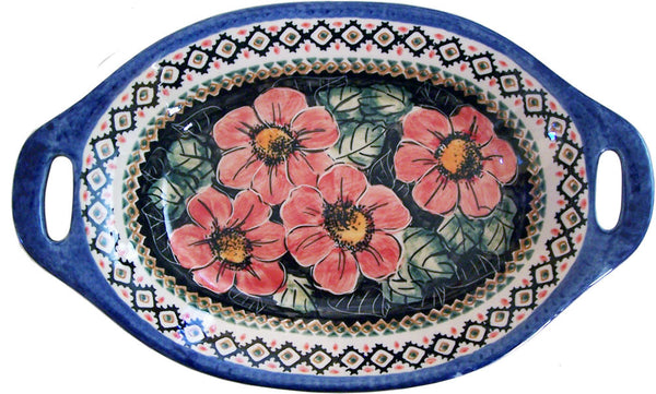 "Boleslawiec Polish Pottery UNIKAT Serving or Baking Dish with Handles ""Red Garden"""