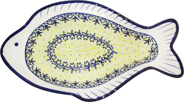 "Boleslawiec Polish Pottery UNIKAT Fish Shaped Serving Plate ""Lace"""