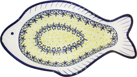 Boleslawiec Polish Pottery UNIKAT Fish Shaped Serving Plate