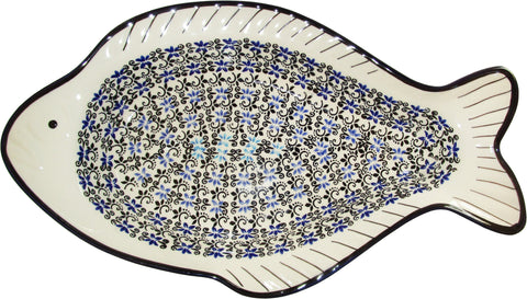 Boleslawiec Polish Pottery UNIKAT Fish Shaped Serving Platter