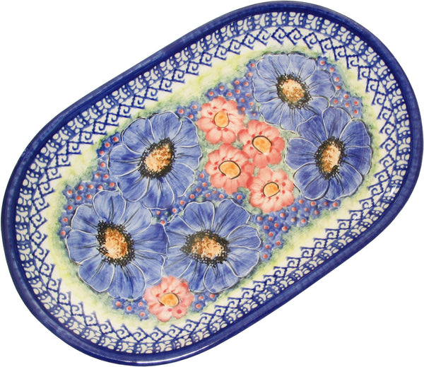 "Boleslawiec Polish Pottery UNIKAT 11"" long Serving Platter ""Isabelle"""