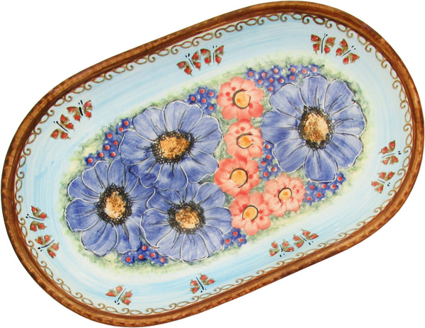 "Boleslawiec Polish Pottery UNIKAT 11"" long Serving Platter ""Blue Sky Meadow"""