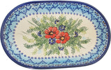 "Boleslawiec Polish Pottery UNIKAT 11"" long Serving Platter ""Veronica"""