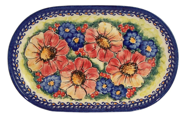 "Boleslawiec Polish Pottery UNIKAT 11"" long Serving Platter ""Flower Field"""