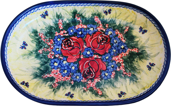 "Boleslawiec Polish Pottery UNIKAT 11"" long Serving Platter ""Wild Roses"""
