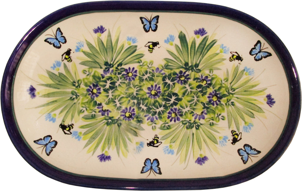 "Boleslawiec Polish Pottery UNIKAT Serving Platter 9.25"" long ""Serenity"""