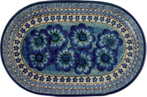 "Boleslawiec Polish Pottery UNIKAT 11"" long Serving Platter ""Blue Garden"""