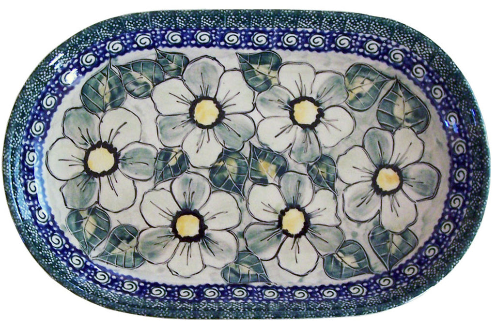 "Boleslawiec Polish Pottery UNIKAT 11"" long Serving Platter ""Green Garden"""