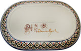 "Boleslawiec Polish Pottery UNIKAT 11"" long Serving Platter ""Red Garden"""