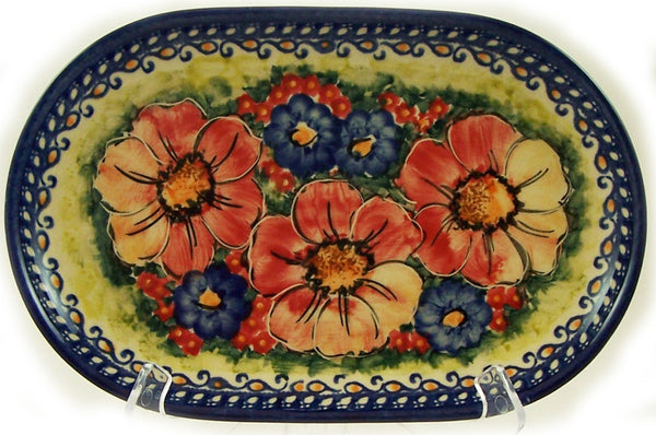 "Boleslawiec Polish Pottery UNIKAT Serving Platter 9.25"" long ""Flower Field"""