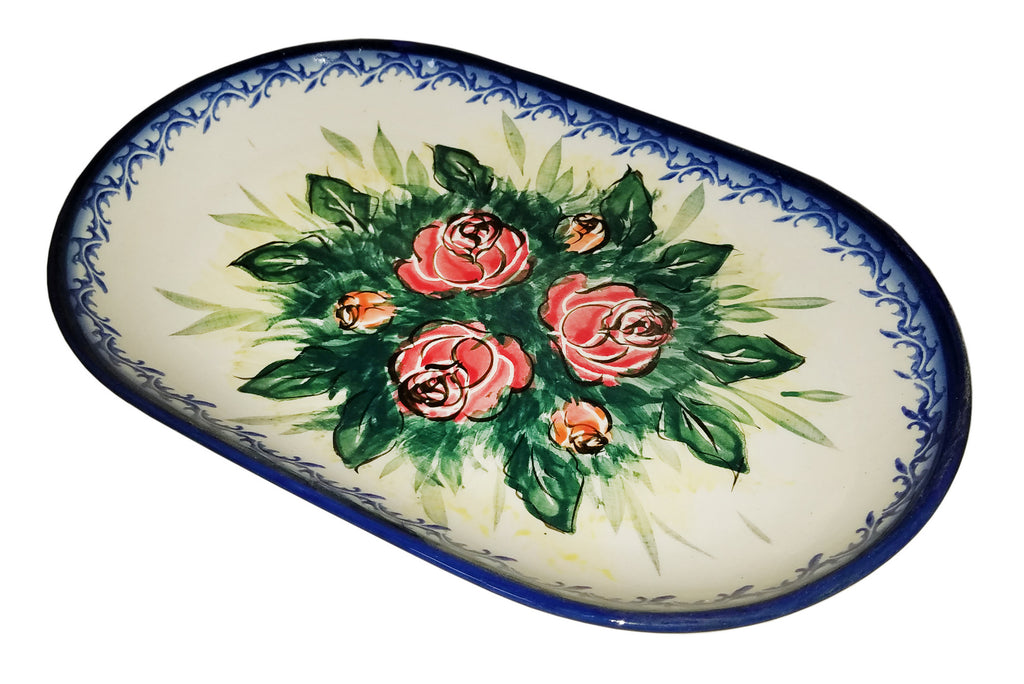 "Boleslawiec Polish Pottery UNIKAT Serving Platter 9.25"" long ""Rose Garden"""