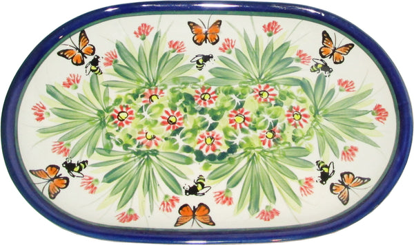 "Boleslawiec Polish Pottery UNIKAT Serving Platter 9.25"" long ""Spring"""