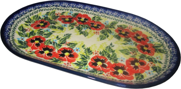 "Boleslawiec Polish Pottery UNIKAT 11"" long Serving Platter ""Summer Day"""