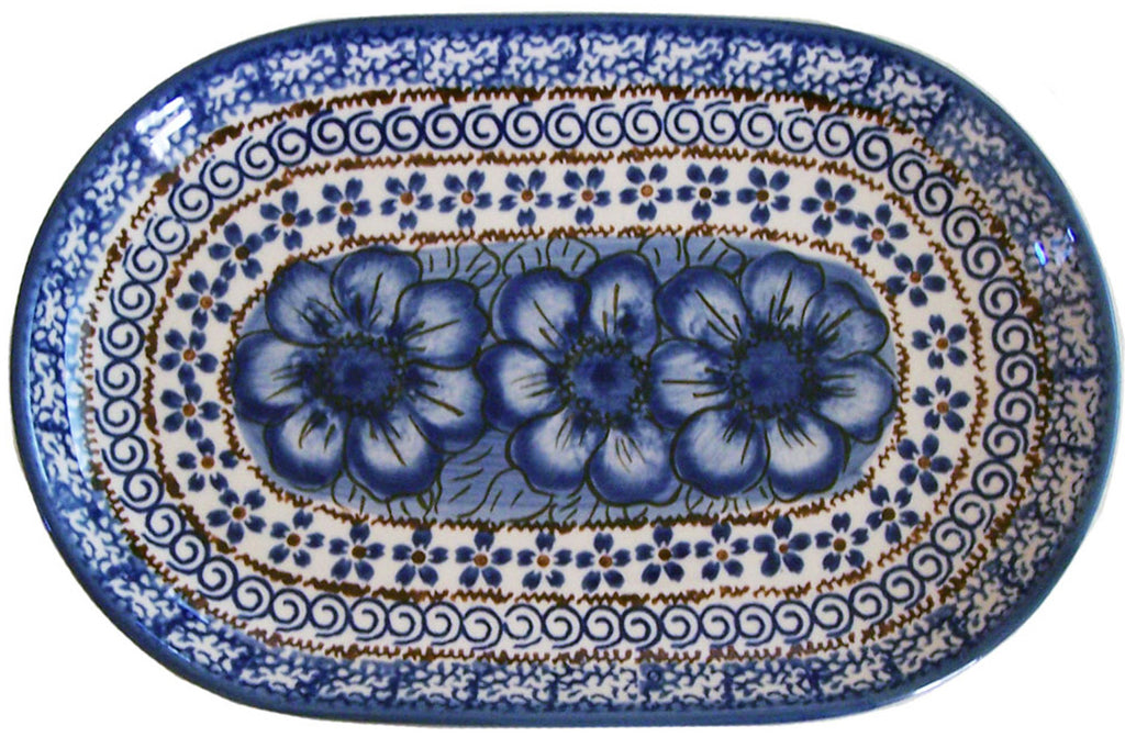 "Boleslawiec Polish Pottery UNIKAT Serving Platter 9.25"" long ""Blue Garden"""