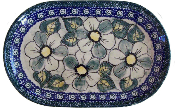 "Boleslawiec Polish Pottery UNIKAT Serving Platter 9.25"" long ""Green Garden"""