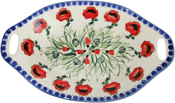 "Boleslawiec Polish Pottery UNIKAT Serving or Baking Dish with Handles ""Poppy Field"""