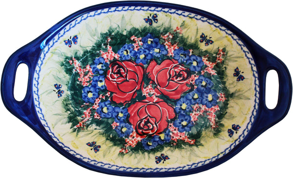 "Boleslawiec Polish Pottery UNIKAT Serving or Baking Dish with Handles ""Wild Roses"""""