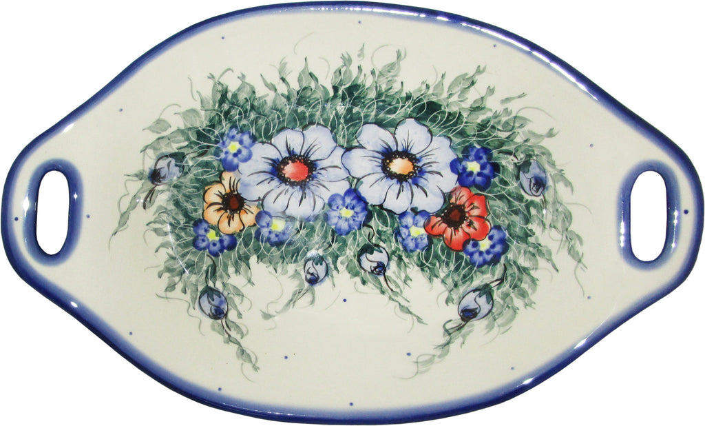 "Boleslawiec Polish Pottery UNIKAT Serving or Baking Dish with Handles ""Wild Field"""