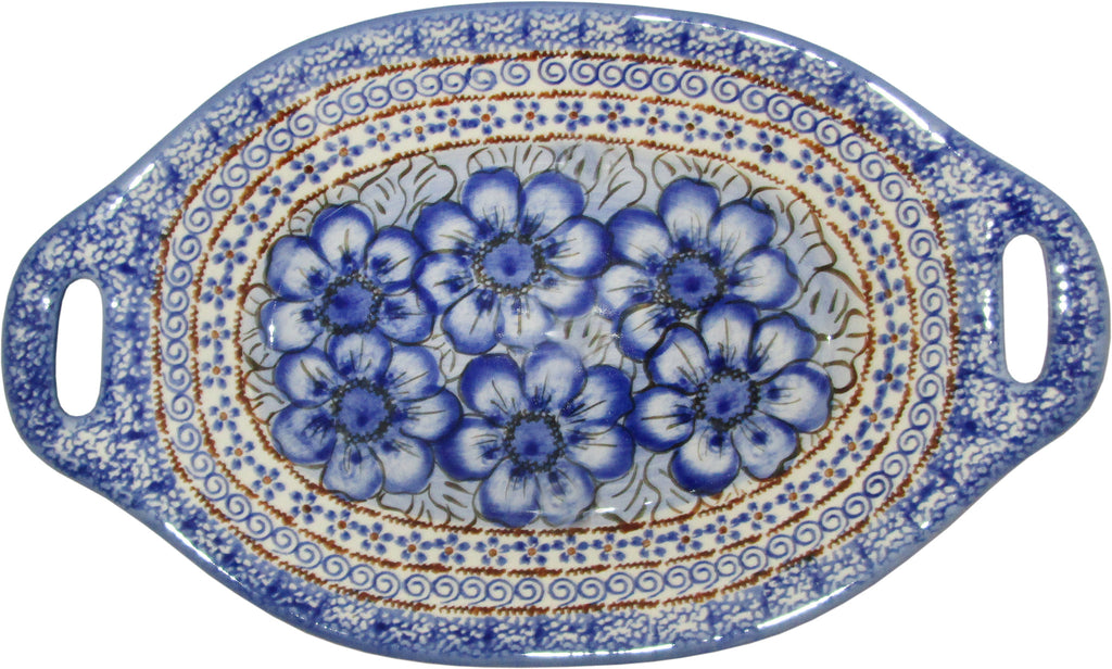 "Boleslawiec Polish Pottery UNIKAT Serving or Baking Dish with Handles ""Blue Garden"""