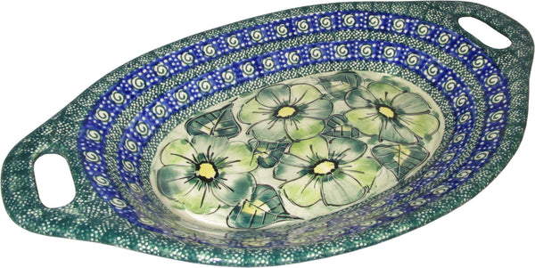 "Boleslawiec Polish Pottery UNIKAT Serving or Baking Dish with Handles ""Green Garden"""
