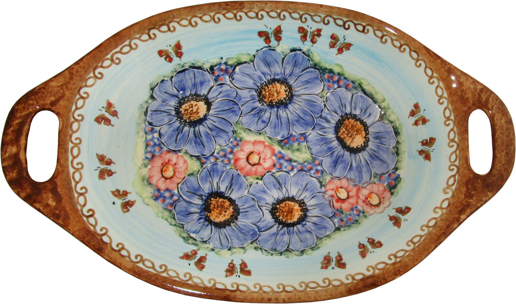 "Boleslawiec Polish Pottery UNIKAT Serving or Baking Dish with Handles ""Blue Sky Meadow"""