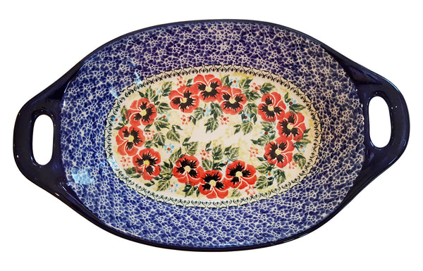 "Boleslawiec Polish Pottery UNIKAT Serving or Baking Dish with Handles ""Summer Day"""