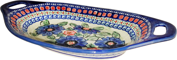 "Boleslawiec Polish Pottery UNIKAT Serving or Baking Dish with Handles ""Patricia"""