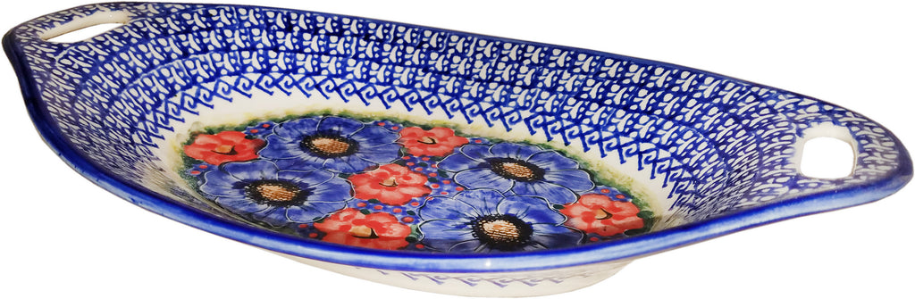 "Boleslawiec Polish Pottery UNIKAT Serving or Baking Dish with Handles ""Isabelle"""