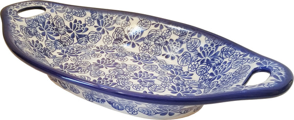 "Boleslawiec Polish Pottery UNIKAT Serving or Baking Dish with Handles ""Madeline"""