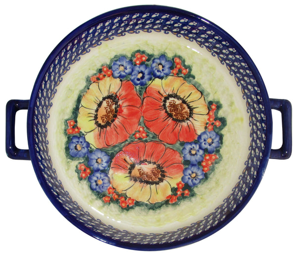 "Boleslawiec Polish Pottery UNIKAT Round Baker with Handles ""Flower Field"""