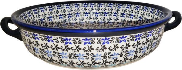 "Boleslawiec Polish Pottery UNIKAT Large Round Baker with Handles ""Martina"""