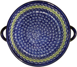"Boleslawiec Polish Pottery UNIKAT Large Round Baker with Handles ""Alex"""