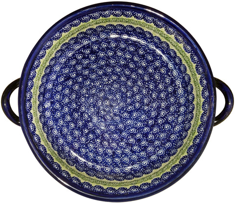 Boleslawiec Polish Pottery UNIKAT Large Round Baker with Handles