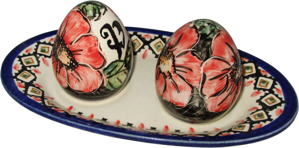 "Boleslawiec Polish Pottery UNIKAT Salt and Pepper Set ""Red Garden"""