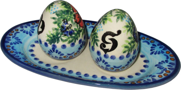 "Boleslawiec Polish Pottery UNIKAT Salt and Pepper Set ""Veronica"""