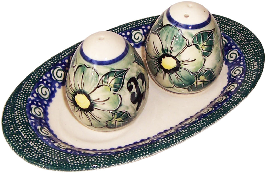 "Boleslawiec Polish Pottery UNIKAT Salt and Pepper Set ""Green Garden"""