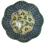 "Boleslawiec Polish Pottery UNIKAT Large Scalloped Bowl ""Green Garden"""