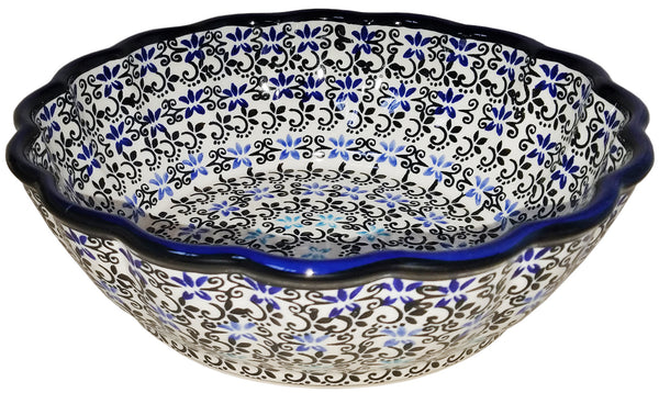 "Boleslawiec Polish Pottery UNIKAT Medium Scalloped Serving Bowl ""Martina"""