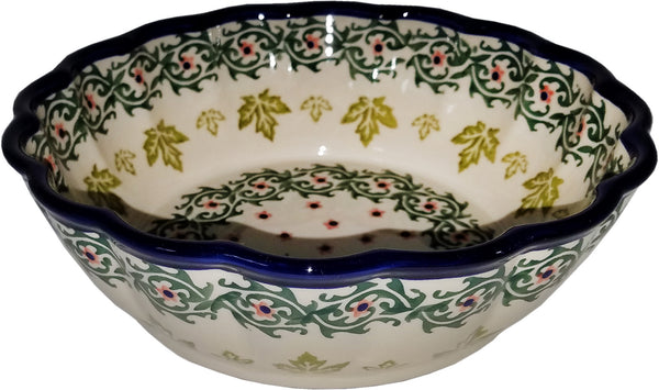 "Boleslawiec Polish Pottery UNIKAT Medium Scalloped Serving Bowl ""Vermont"""